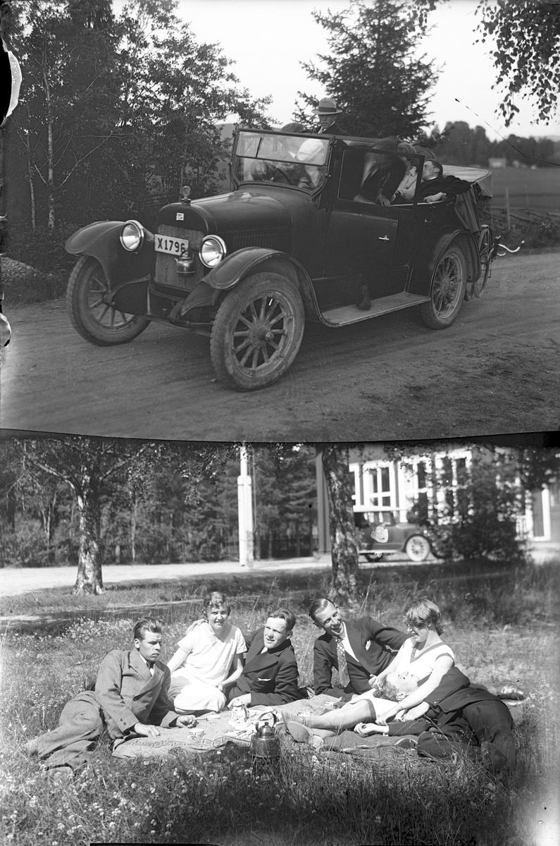 Två motiv: bil och gruppbild. 1. En X1796  Buick 1922 4 cyl.touringmodell. 2. Fabrikör P W Skoglund, Åkerby Ockelbo.