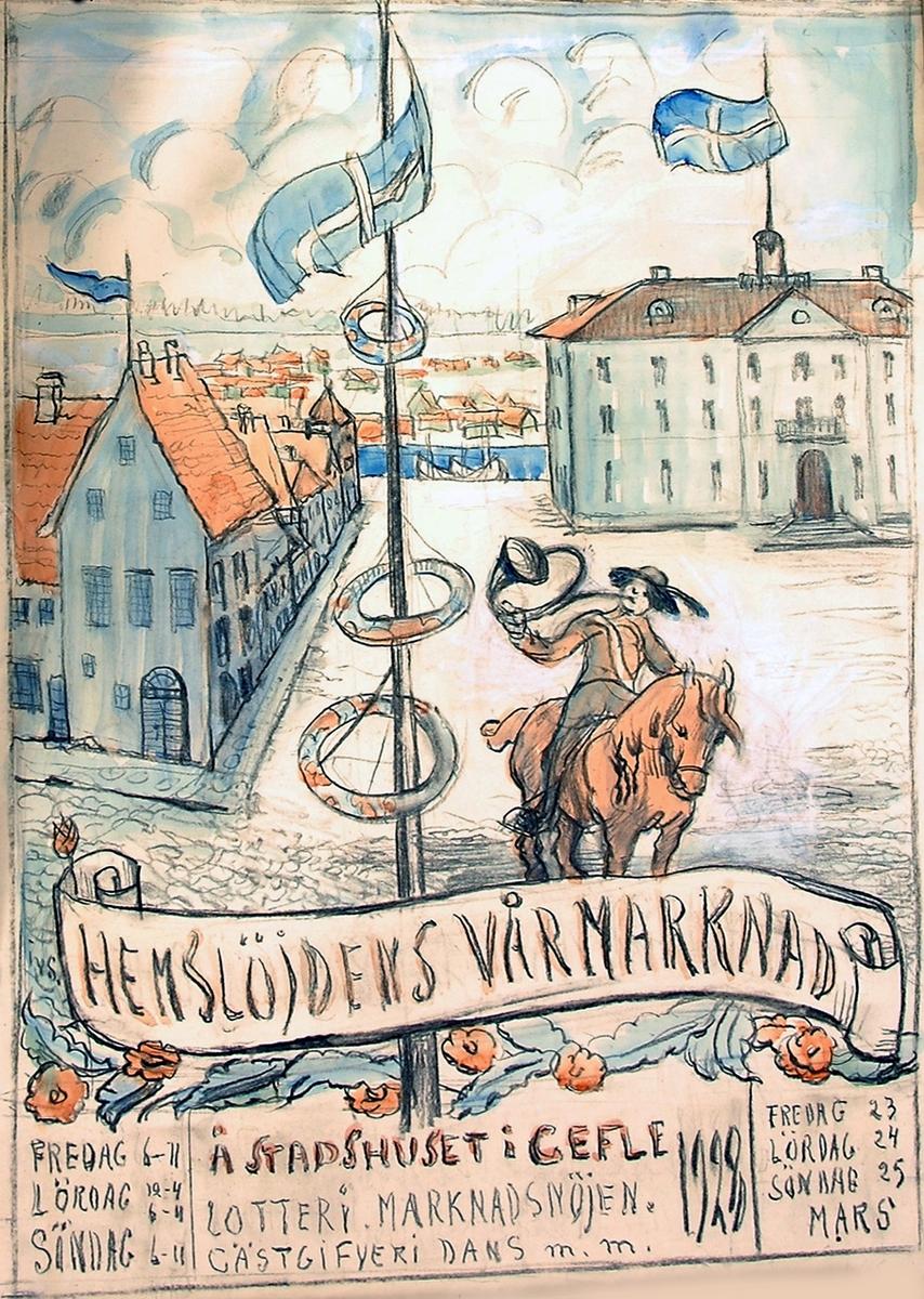 Akvarell av Ida von Schultzenheim. Hemslöjdens vårmarknad 1928.