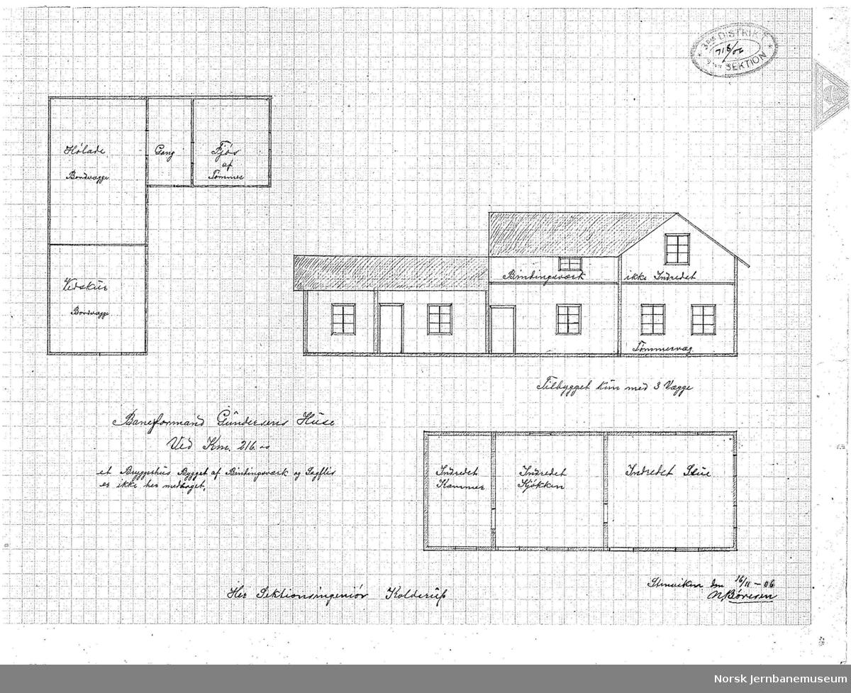 Baneformand Gundersens Huse ved km 216,00