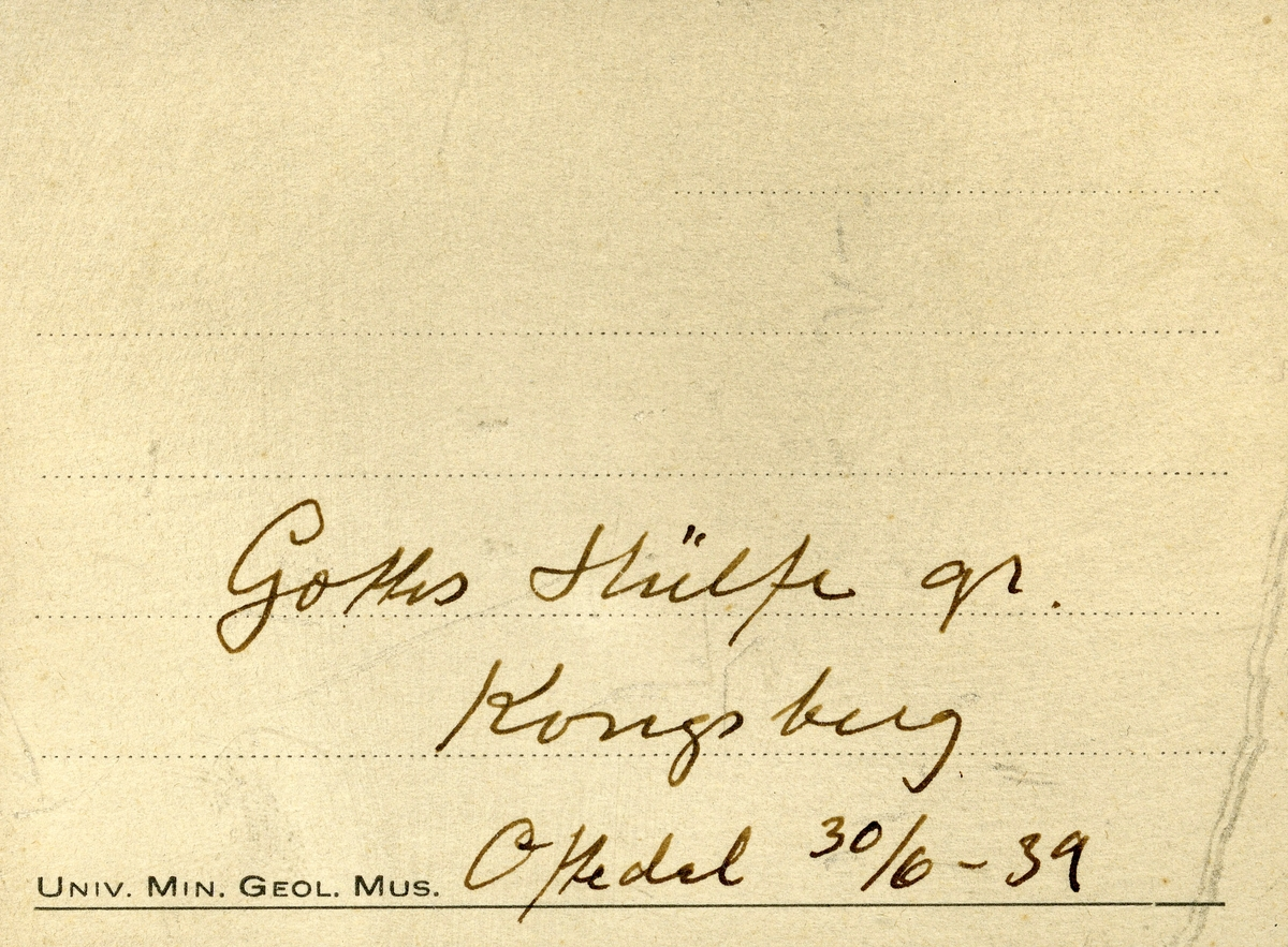 En etikett i eske: Gottes Hülfe gr. Kongsberg Oftedal 30/6-39