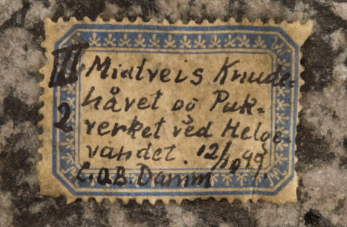 Etikett på prøve: III 2 Midtveis Knudehåvet og Pukverket ved Helgevandet. 12/10 99 C.O.B. Damm