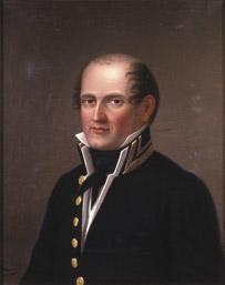 Portrett av Lars J. Irgens. Mørk uniform, hvit vest og skjorte, svart halsbind. (Foto/Photo)
