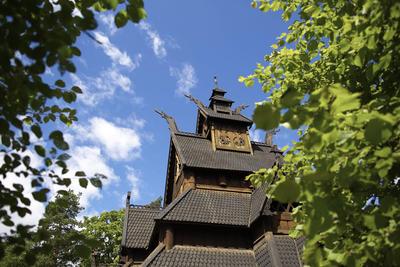 Stavkirke fra Gol på Norsk Folkemuseum. Foto/Photo