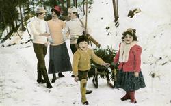 Postkort med vintermotiv juletreet hentes fra skogen.