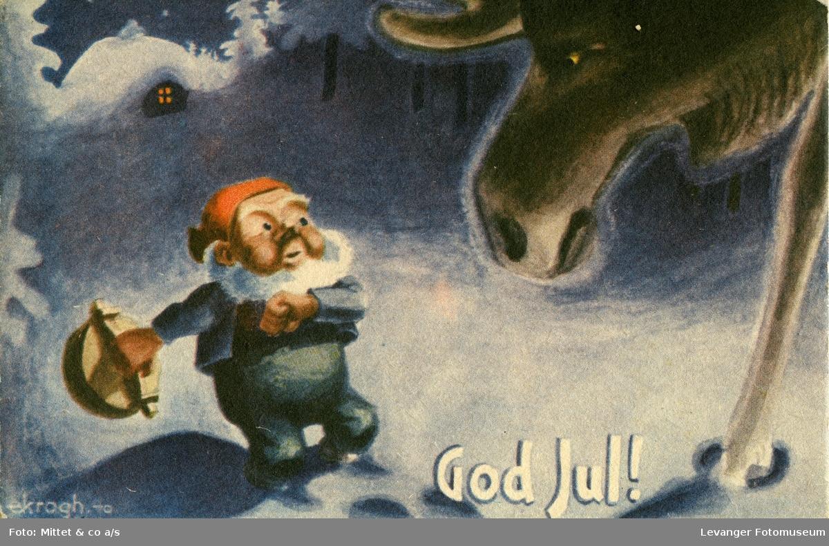 Postkort med julemotiv, nissen møter sint elg.