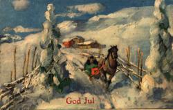 Julekort. Ubrukt. Snødekket landskap med gårdstun i bakgrunn