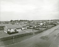 Vy över villaområde med ett område med hyreshus i bakgrunden