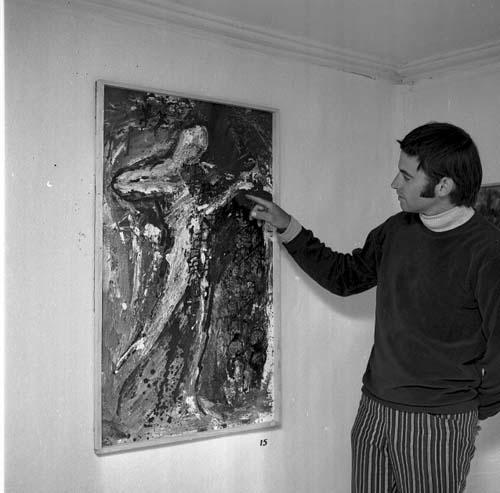 """Konstverk av Torstein Landström, """"Näcken"""" 100x60 cm olja på pannå, 1968."""