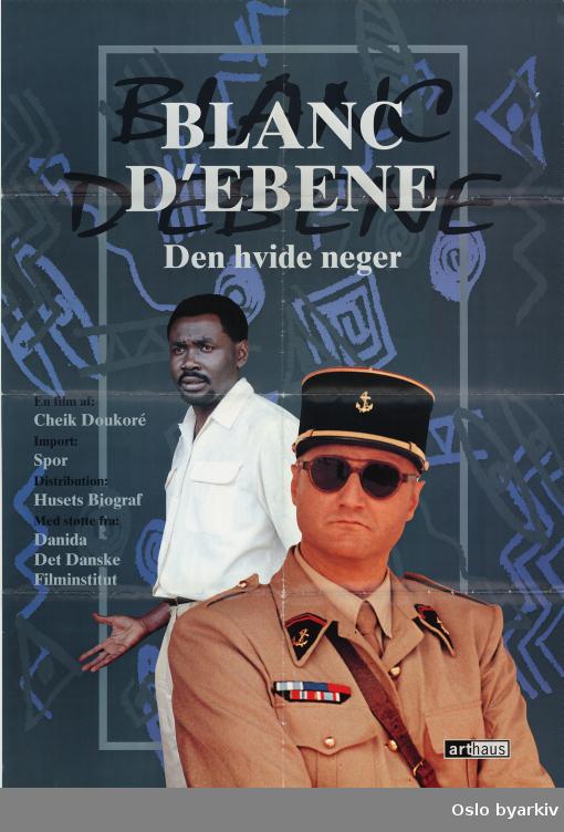 Plakat for filmen Blanc d' Ebene - dansk distribusjon...Oslo byarkiv har ikke rettigheter til denne plakaten. Ved bruk/bestilling ta kontakt med Nordic Black Theatre (post@nordicblacktheatre.no)