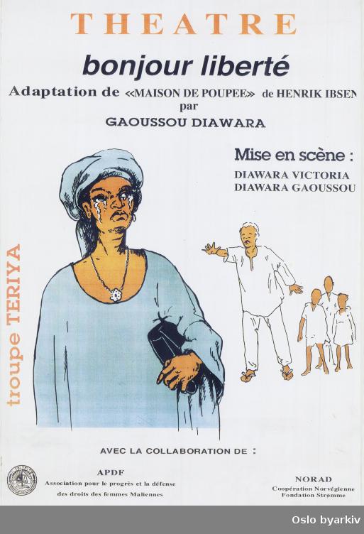 Plakat for forestillingen Bonjour liberté...Oslo byarkiv har ikke rettigheter til denne plakaten. Ved bruk/bestilling ta kontakt med Nordic Black Theatre (post@nordicblacktheatre.no).