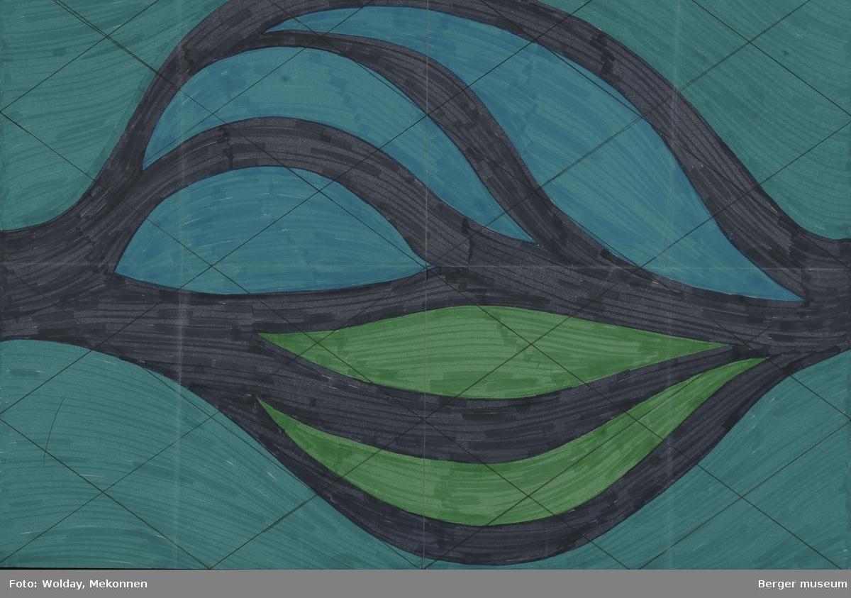Psykedelisk. Organisk. Mønsteret er formet som et stort blad der kraftige sorte linjer danner bladkant og -nerver i lengederetningen på arket.