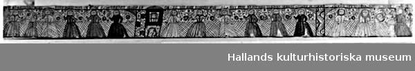 Målad bonad av papper. Figurer i grått, rött, grönt och rosa på vit botten. Ett gallerförsett fönster varigenom synes ett huvud. Text: I så förnedrar som detta barn han störst i himmelriket Matth 18.2) Äst du den som komma skall eller skole wi förbida någon annan. Matth 11 Capitel 3) Jesus uppväckte Jairus doter Oh - -