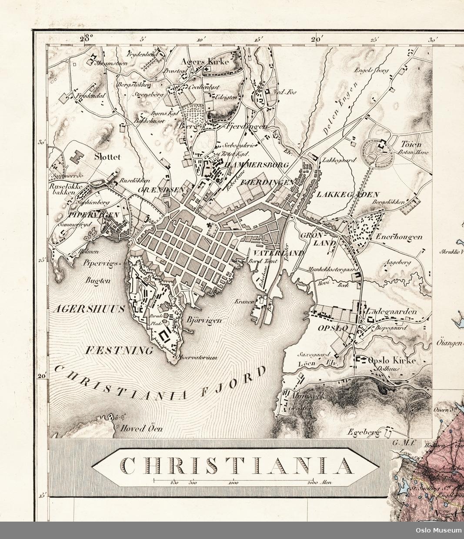 kart kvadraturen Christiania og kvadraturen [Kart]   Oslo Museum / DigitaltMuseum kart kvadraturen