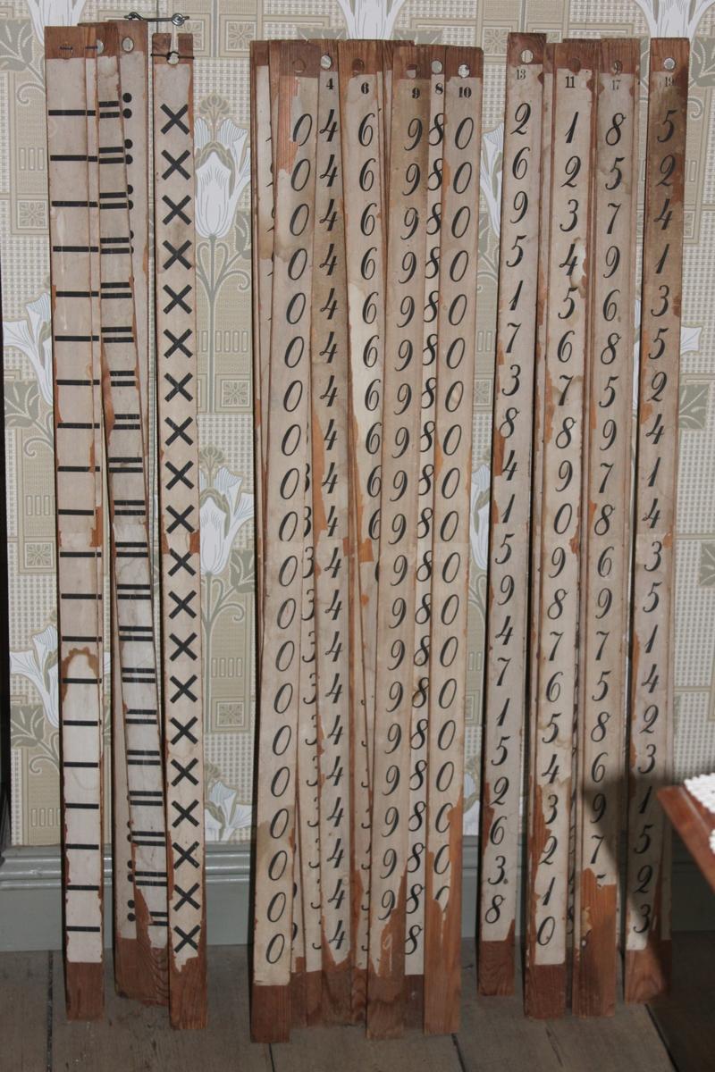 Räknestav i trä med påklistrad pappersremsa. Denna räknestav har minustecken längs hela stickan. Stickan eller staven placeras på svarta tavlan mellan andra stavar med siffror samt stavar med likamed tecken.