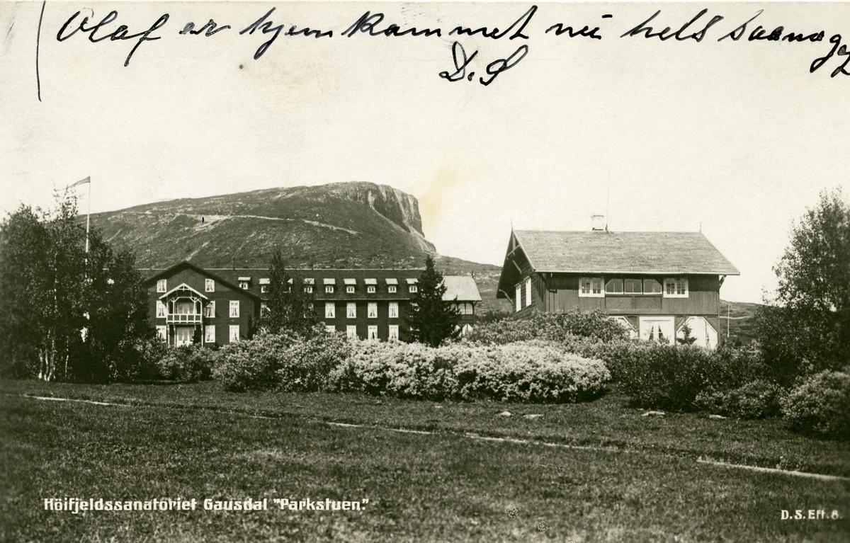 """Postkort med motiv av """"Høifjeldssanatoriet Gausdal Parkstuen""""."""