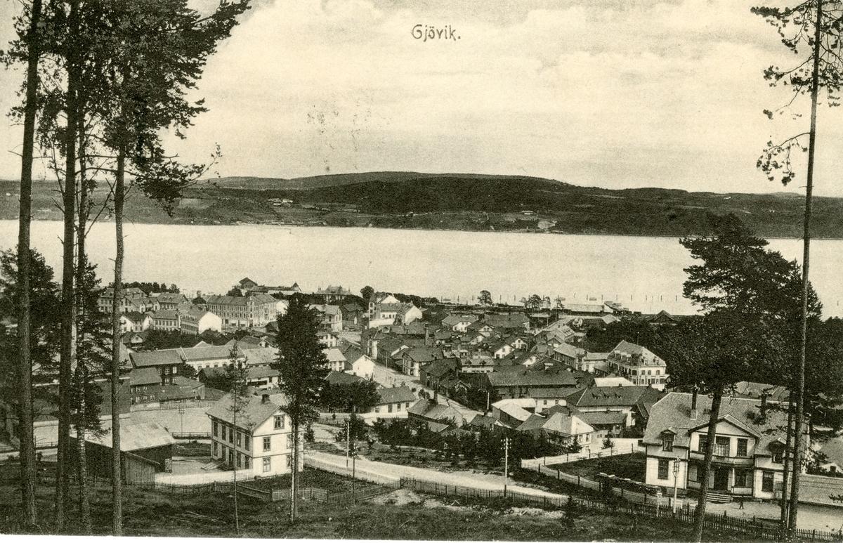 Postkort med motiv fra Gjøvik. Sendt i 1911.