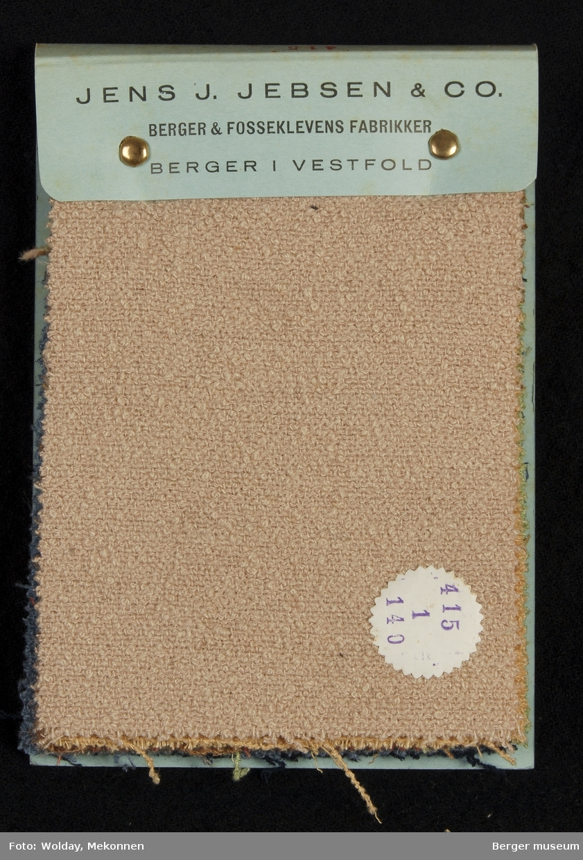 Prøvebok med 10 prøver Drakt/kåpe-stoff Fiskeben Kavlitet 415. Stykkfarget