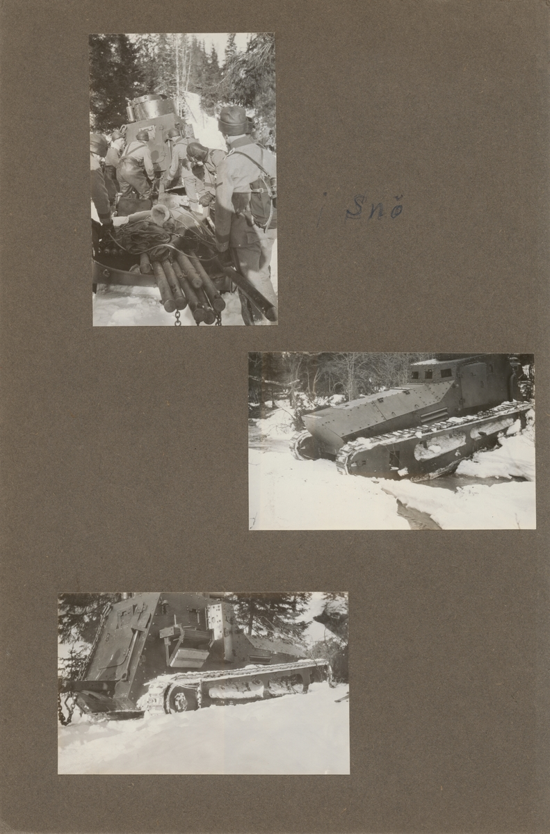 Vinterövning med stridsvagn m/1921 (eller m/1921-1929). Stridsvagnen korsar ett mindre vattendrag.