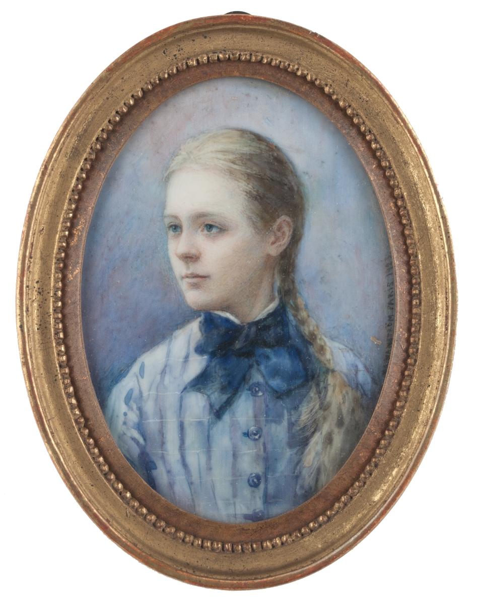"""Miniatyrmålning föreställande Ida Matton, av Matilda """"Ma"""" Hanström, 1923. Enligt accessionskatalog 1963 är porträttet målat efter ett fotografi."""