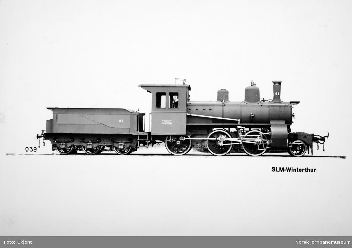 Damplokomotiv type XXIII nr. 41 som nytt, leveransefoto fra SLM