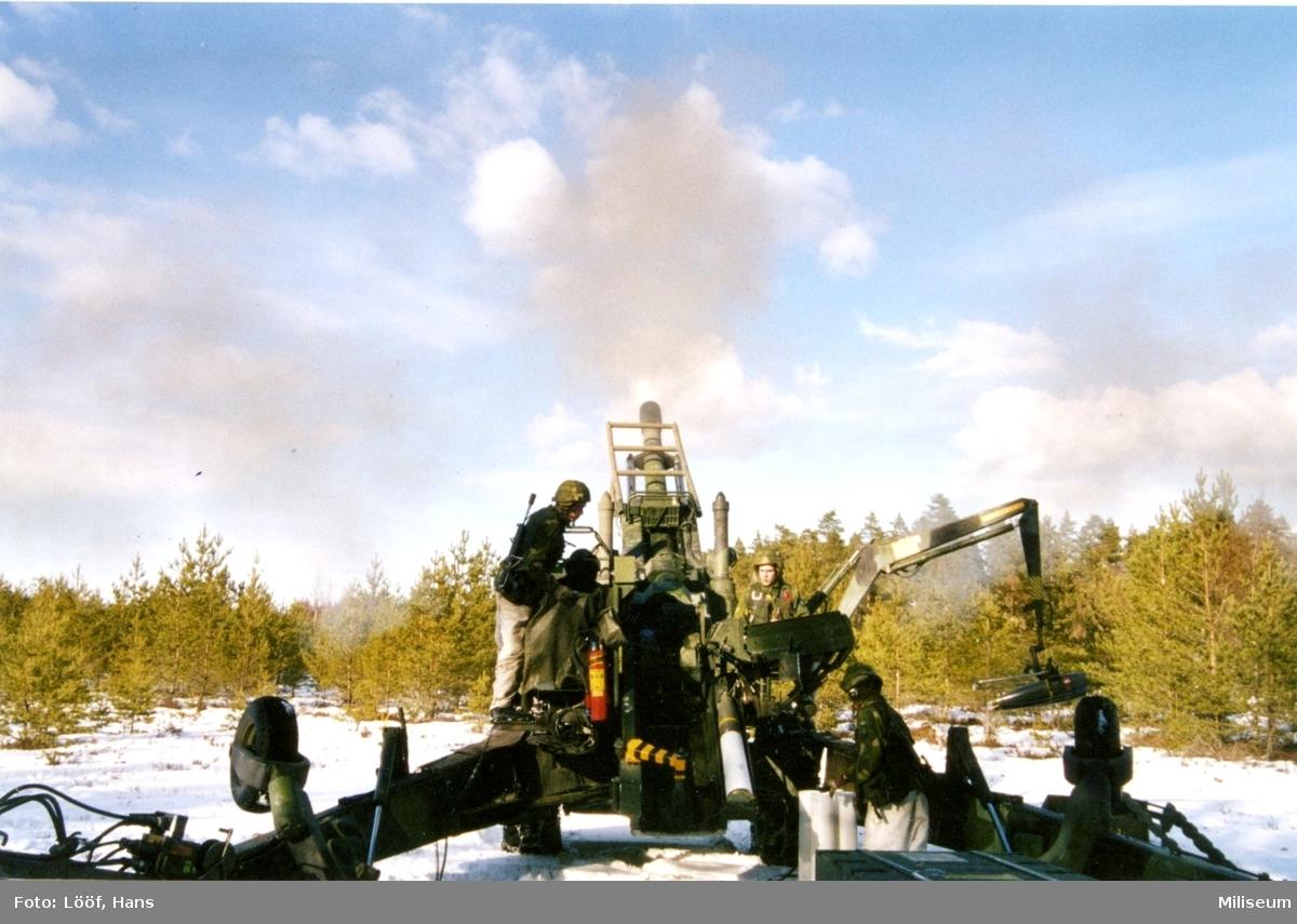 Haubits 77. 15,5 cm. Skarpskjutning, A 9.