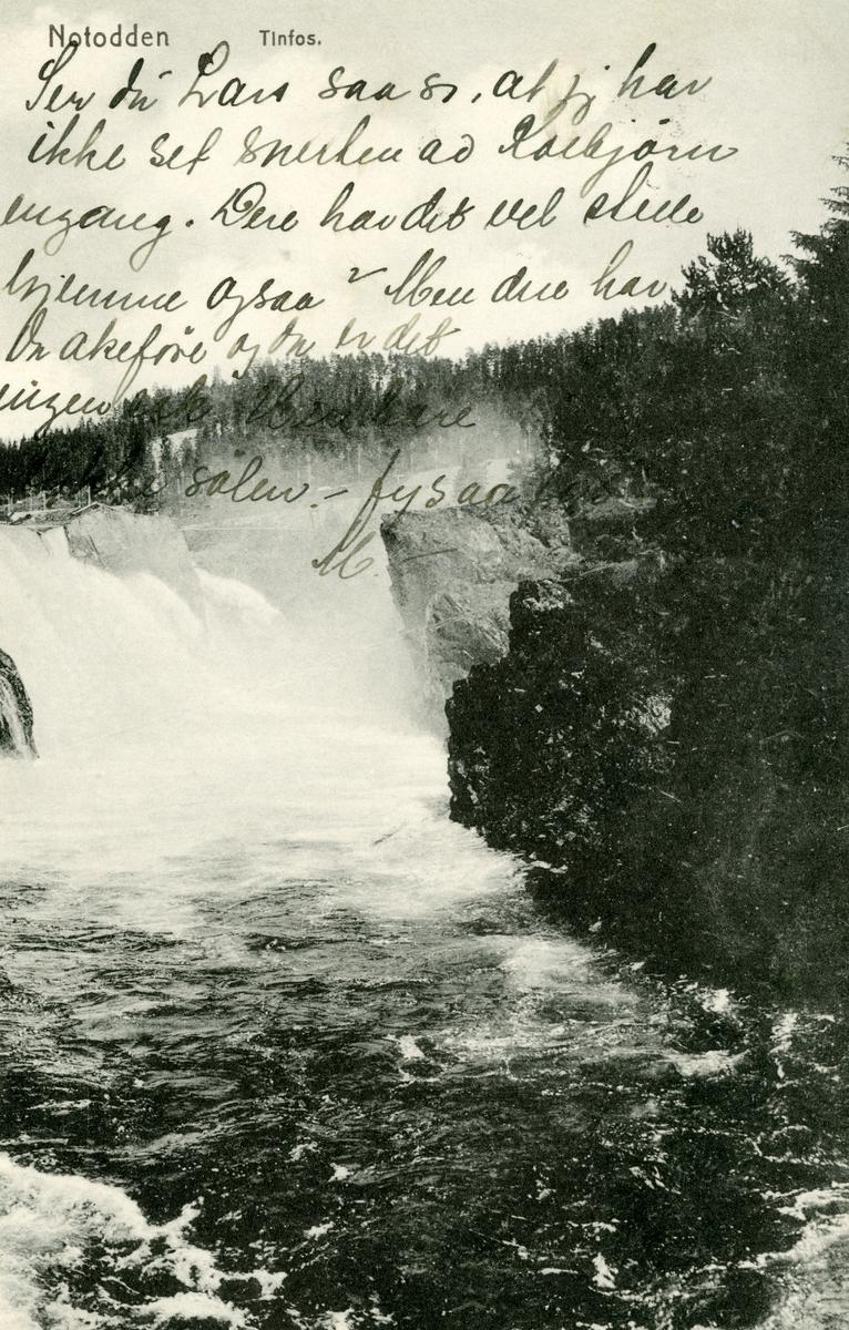 Postkort med motiv fra Tinfos, Notodden
