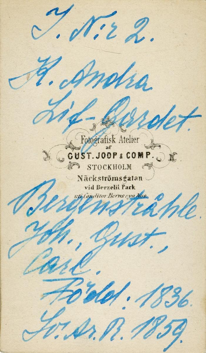 Porträtt av Johan Gustaf Carl Bergenstråhle, underlöjtnant vid Andra livgardet I 2. Se även bild AMA.0006480.