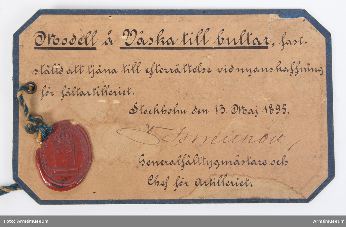 Grupp F I. Väska m/1895 till bultar till 8 cm förändrad kanon m/1881.