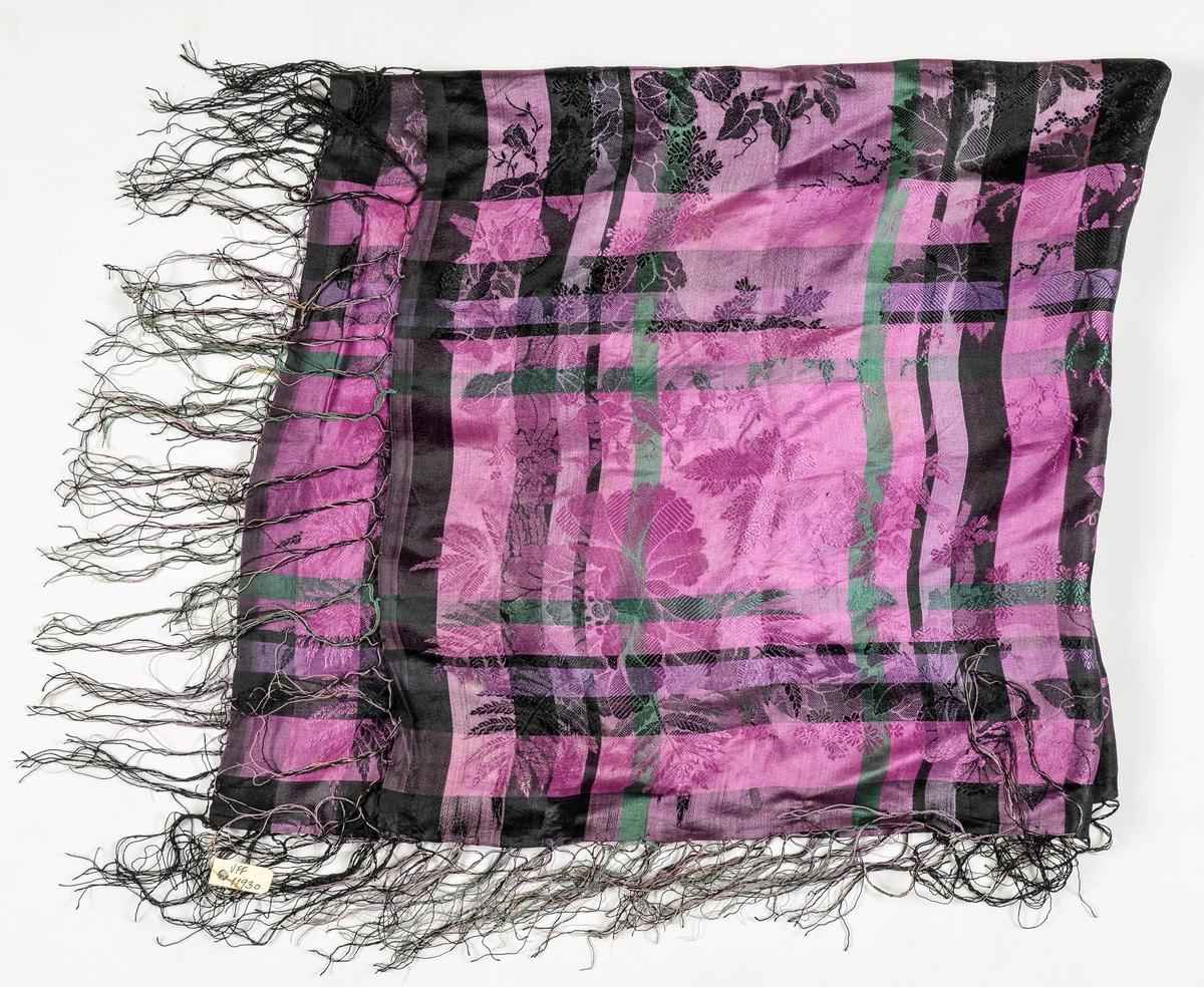 Tørkle i silkedamask i rosa, svart, fiolett og grønt. Påsette silkefrynser.
