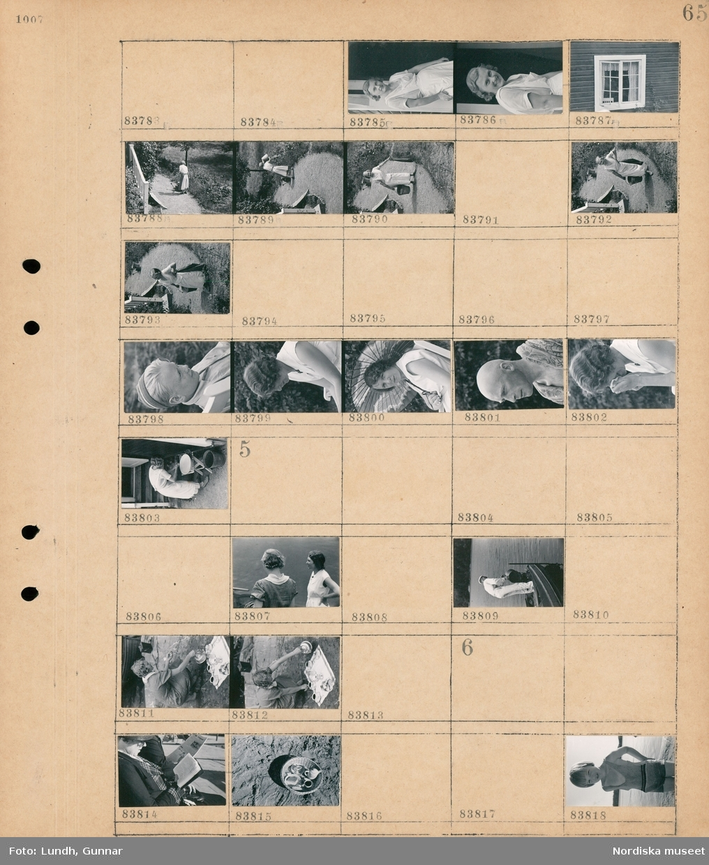 Motiv: (ingen anteckning) ; Porträtt av en kvinna, husfasad med fönster, en kvinna bär en hink, porträtt av en pojke, porträtt av fotograf Gunnar Lundh, en man står i en båt, en kvinna häller upp kaffe i koppar uppdukade på marken.  Motiv: (ingen anteckning) ; En man sitter ochläser, kaffekoppar och kanna i en korg, porträtt av ett barn.