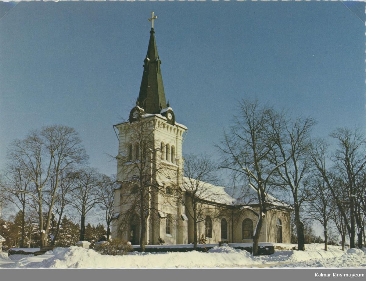 Vykort med motiv av Fliseryds kyrka.