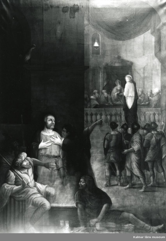 Altartavlan i Ryssby kyrka. Denna altartavla förstördes vid branden 2001 och ersattes med en ny tavla av Monica Strandberg.