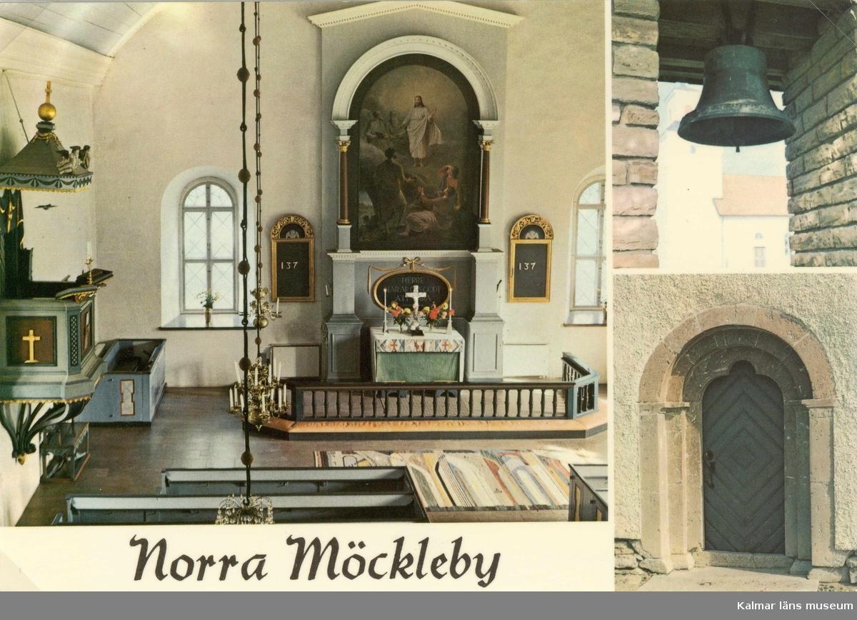 Vykort med interiör och exteriör av Norra Möckleby kyrka.