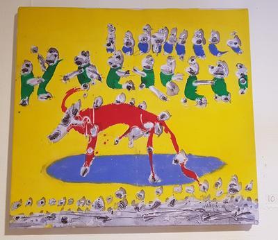 Uten tittel. Ca. 1985-90. Maleri. 38x41 cm. Kr. 16.667