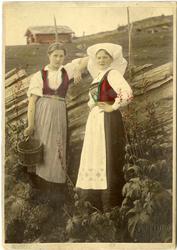 Kolorert fotografi av to kvinner med Hardangerdrakt foran et