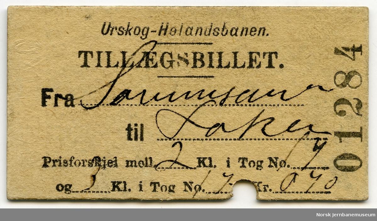 Billett Urskog-Hølandsbanen Fra Sørumsanden til Løken, prisforskjell 2 og 3. klasse