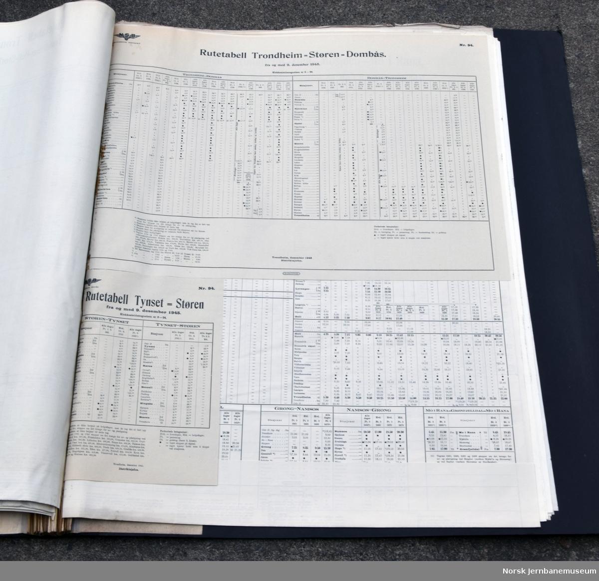 Ruteoppslag for Trondheim distrikt, fra 15.05.1935 til 15.05.1951, innbundet. Hvert år er det vanligvis to ruteoppslag fram til 1940, ett for baner fra Trondheim og sørover og ett for baner fra Trondheim og nordover. Fra 1941 eget oppslag for Rørosbanen og fra 1948 er det fire årlige oppslag da Meråkerbanen og Nordlandsbanen har hvert sitt oppslag.