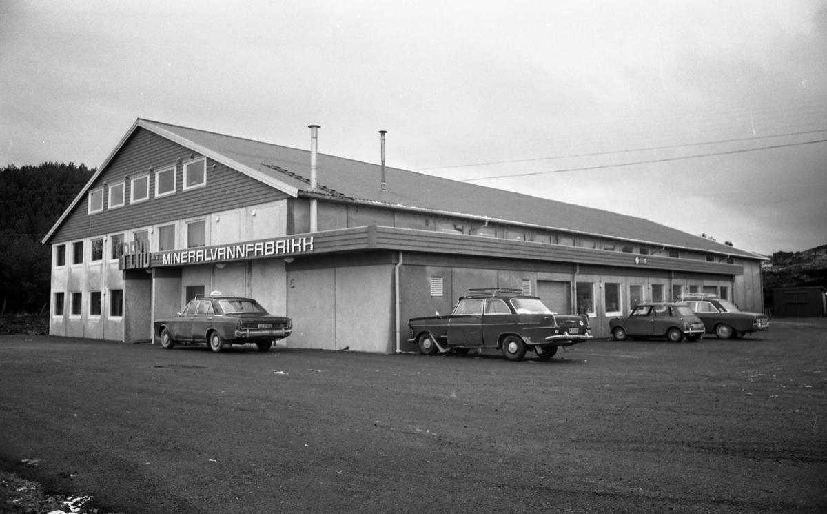 Peko brusfabrikk på Krossleite i Sveio. Eksteriør og interiørbilder av brusfabrikken. Arbeiderne er travelt opptatt med brusproduksjonen.