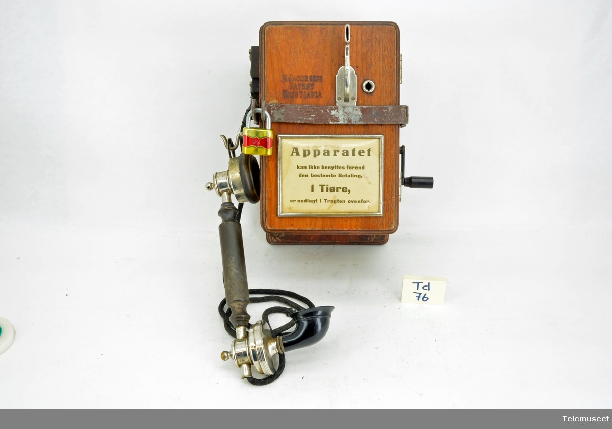 Jacobsen patent Myntinnkast 10 øre