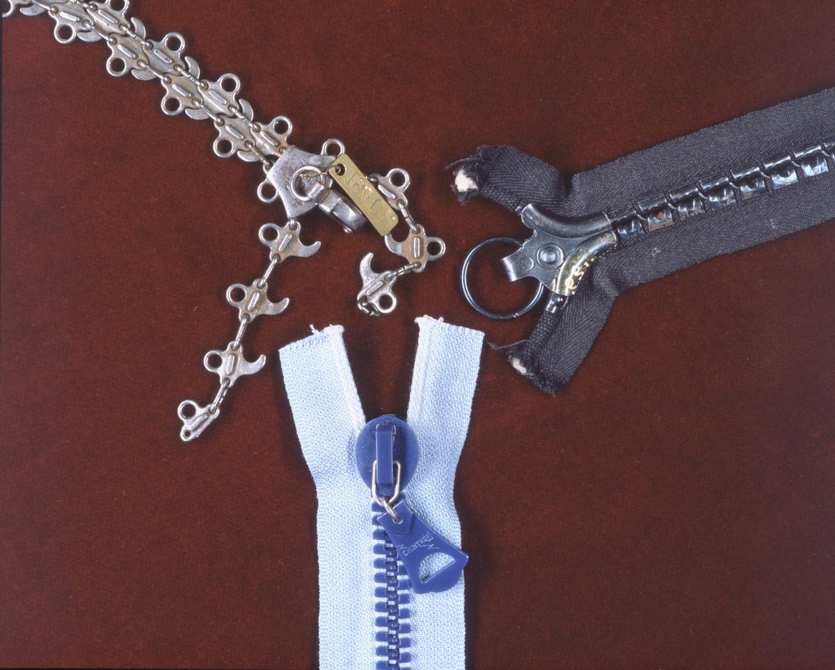 """Det första blixtlåset """"plastiklås"""" av konstharts, med automatisk låsanordning. Whitcomb Judsons blixtlås. Dragkedjan Plako, lanserad 1908."""