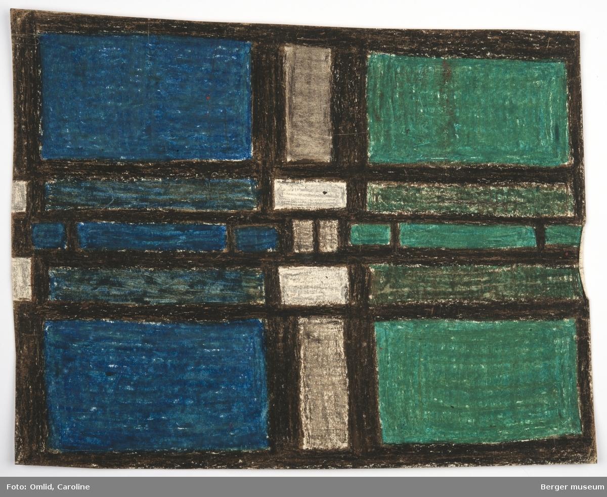 Rytmiske rektangulære og symmetriske felt innrammet av tydelig svarte linjer, inspirert av 1920-tallets De Stijl-gruppens geometriske formspråk