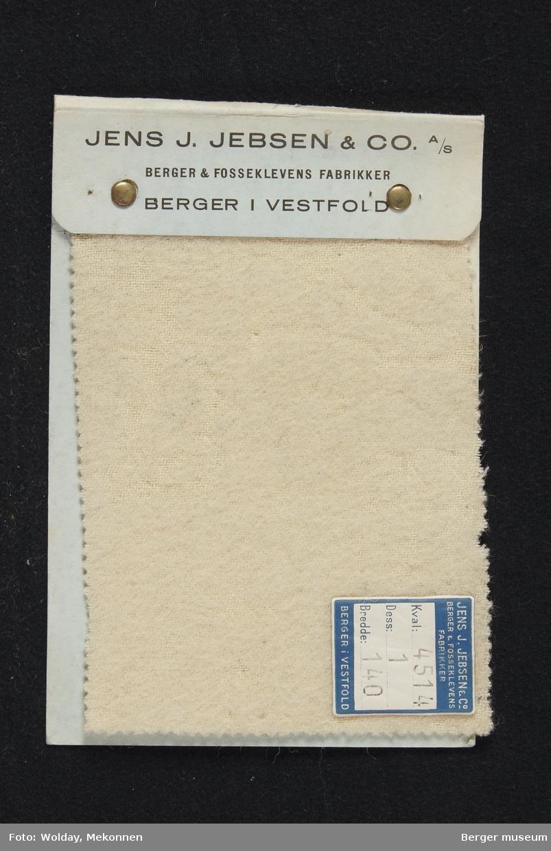 Prøvebok med 1 prøve Flanell Ufarget Kval. 4514.