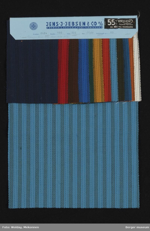 Prøvehefte med 13 prøver Kjole/skjørt Kvalitet 6484 Stykkfarget Striper