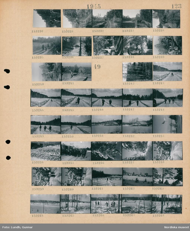 Motiv: (ingen anteckning) ; En grupp kvinnor och män vandrar i naturen, en man med en ryggsäck i skogen.  Motiv: (ingen anteckning) ; Björkar, en man och en kvinna går på en väg i ett snötäckt landskap, en man med gevär och en kvinna går på en väg, tre män med gevär går på en väg, exteriör av en byggnad, en flaggstång med svenska flaggan, parkerade översnöade cyklar, en grupp människor med skidor vid en järnvägsvagn, en översnöad gran, kvinnor och män åker skidor i ett snötäckt landskap, landskapsvy med bebyggelse.