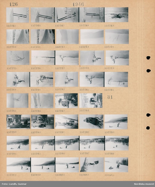 Motiv: (ingen anteckning) ; Skidor i snön, snötäckt landskapsvy med fjäll, ett träd, människor med packning vid hästdragna slädar.  Motiv: (ingen anteckning) ; Människor med packning vid hästdragna slädar vid ett hus, ett barn i en pulka, en man på skidor drar ett barn i en pulka.k