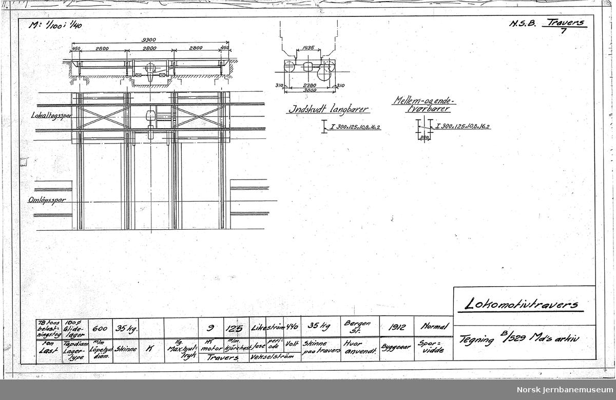 Oversiktstegninger fra NSB Verkstedkontoret 7 tegninger av traverser på jernbaneverkstedene