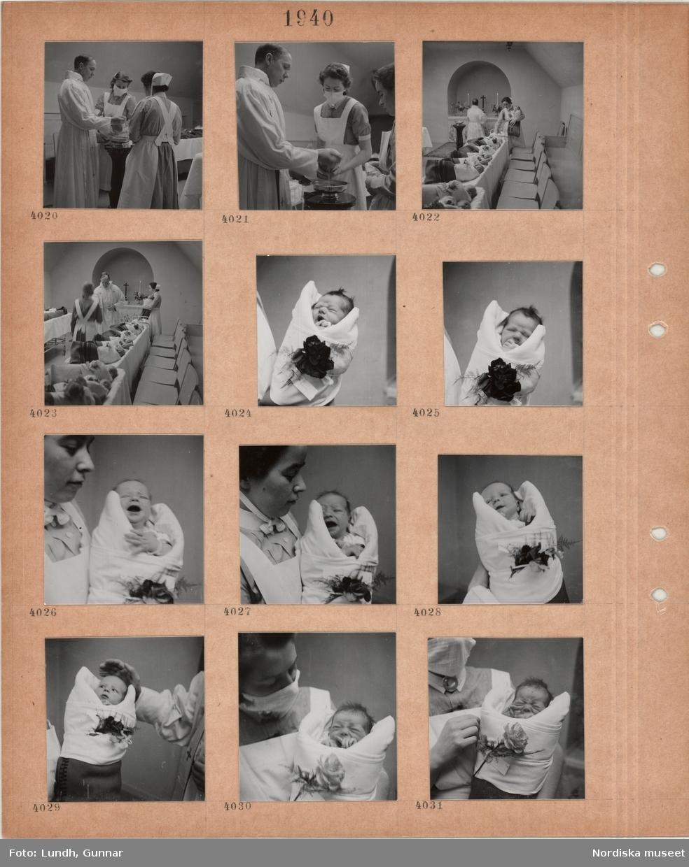 Motiv: Präst i kyrklig skrud döper spädbarn i enkel lokal med altare och dopfunt, kvinnor i sköterskeuniformer bär spädbarn, spädbarn ligger på rad, porträttbilder av spädbarn.