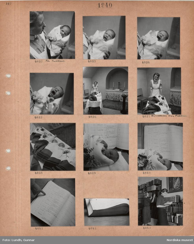 Motiv: Kvinna, frk Fredriksson, i sköterskeuniform håller i ett spädbarn, enkel lokal med altare och dopfunt, kvinna i sköterskeuniform, barnsköterskan Elsie Fredriksson vid spädbarn på rad, spädbarn vid uppslagen liggare, två kvinnor står vid bokhyllor fyllda med böcker.