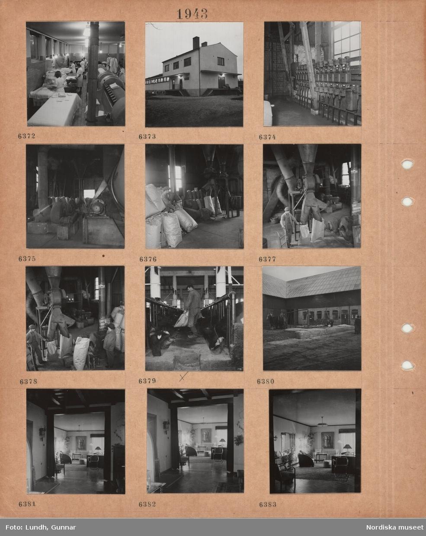 Motiv: Interiör tvätteri, kvinnor i skyddsrockar hanterar tvätt, manglar, exteriör byggnad med mindre lastkaj, interiör med många elskåp på en vägg, arbetsmaskiner, papperssäckars som fylls från rör, man med säckkärra, en man noterar antal på en tavla, en man i arbetskläder och stövlar utfodrar kor i stall, gårdsplan, kärra med två förspända hästar, interiör modernt möblerat vardagsrum.