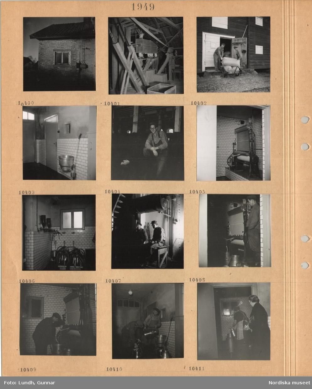 Motiv: Elskåp på yttervägg, interiör med maskin med remdrift, två män hanterar fyllda säckar på en kärra, interiör med kaklad vägg, man i arbetskläder i ladugård, interiör med kaklade väggar, mjölkmaskiner, kylsystem(?), två män sitter på en bänk, tappning av mjölk i stora kärl, män och kvinnor arbetar med mjölkhantering.